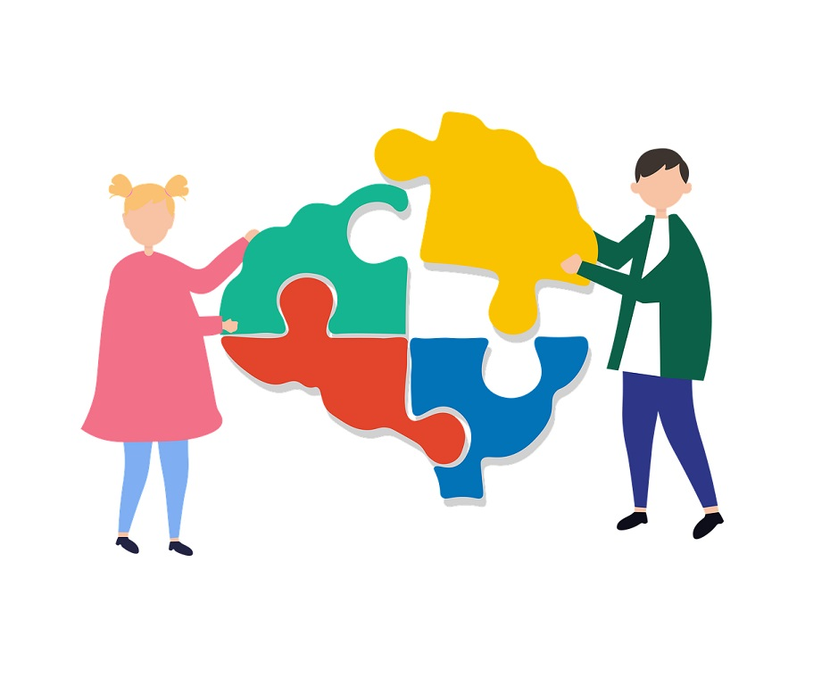 Autism Detection in Infants and Young Children blog featured image. Stylized graphic of a man and a woman putting a brain puzzle together.