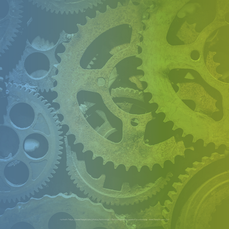 Autism Resources blog. Image of several gears with a blue and green tint.