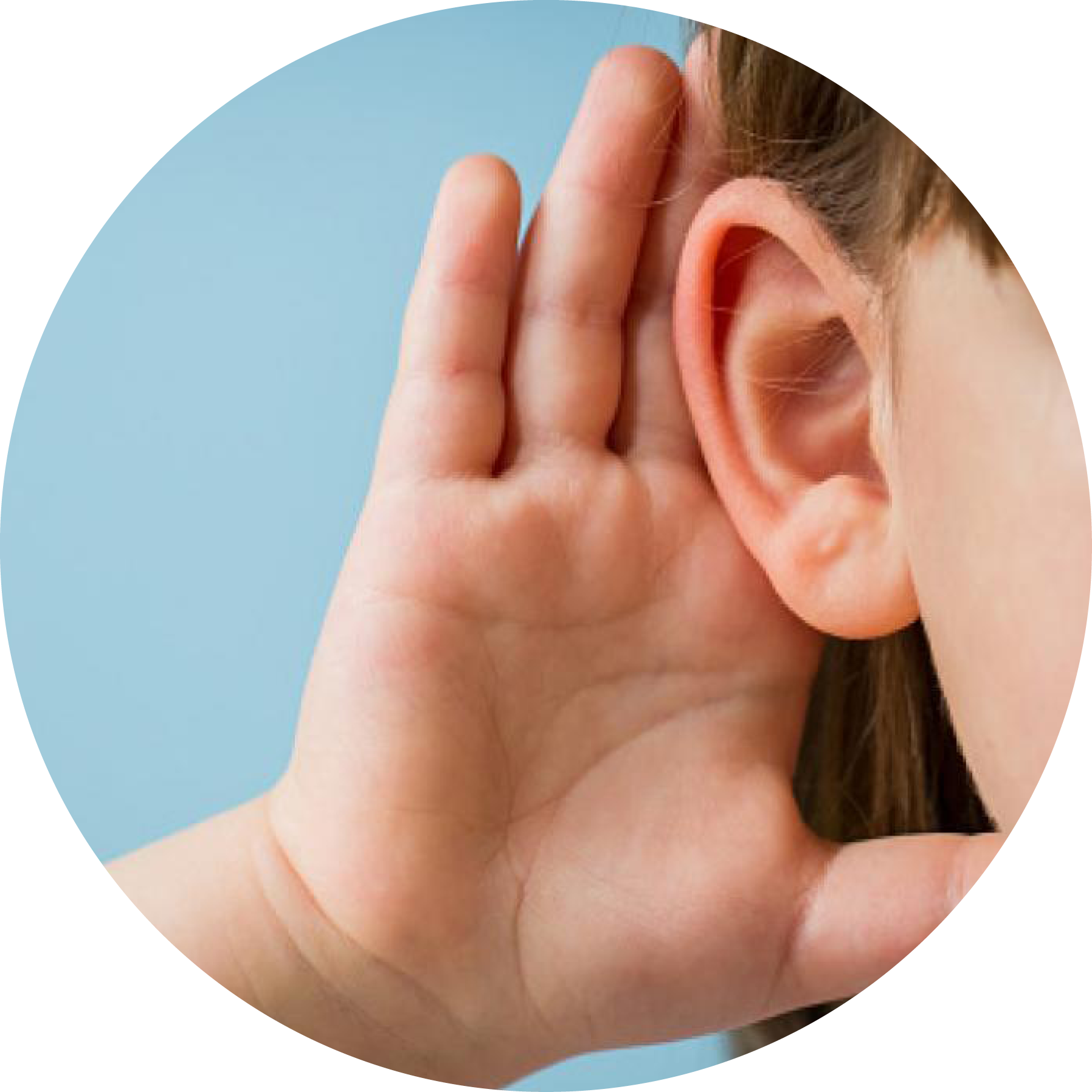 What is Double Empathy blog image. Photo of a young girl holding her ear to hear better.
