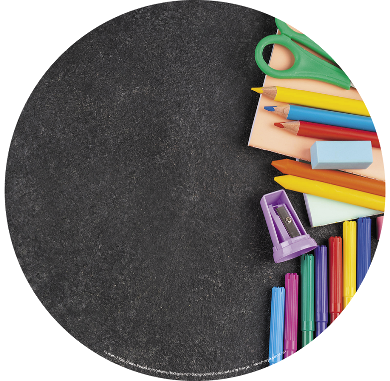 Back to School Checklist for Students with ASD blog. Photo of colorful school supplies on a textured table.